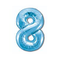 Шар фольгированный 40' цифра '8', цвет холодный голубой Slim