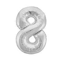 Шар фольгированный 40' 'Цифра 8', цвет серебряный, Slim