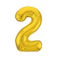 Шар фольгированный 40' 'Цифра 2', цвет золотой, Slim