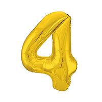Шар фольгированный 40' 'Цифра 4', цвет золотой, Slim