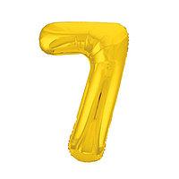 Шар фольгированный 40' 'Цифра 7', цвет золотой, Slim