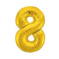Шар фольгированный 40' 'Цифра 8', цвет золотой, Slim