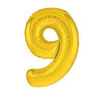 Шар фольгированный 40' 'Цифра 9', цвет золотой, Slim