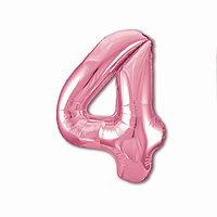 Шар фольгированный 40' 'Цифра 4', цвет фламинго Slim