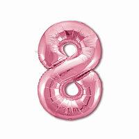 Шар фольгированный 40' 'Цифра 8', цвет фламинго Slim