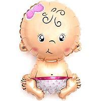 Шар фольгированный 16' мини-фигура 'Малышка-девочка', с клапаном (комплект из 5 шт.)