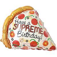 Шар фольгированный 16' мини-фигура 'Пицца. Лучший день рождения', с клапаном (комплект из 5 шт.)