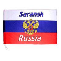 Флаг 60х90 см, Саранск, триколор, герб России, полиэстер (комплект из 100 шт.)