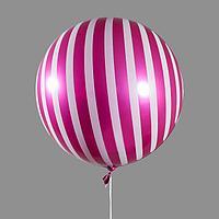 Шар полимерный 18' 'Сфера, полоска', блестящий, бордовый, цвет рисунка белый (комплект из 4 шт.)