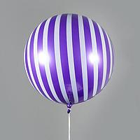Шар полимерный 18' 'Сфера, полоска', блестящий, фиолетовый, цвет рисунка белый (комплект из 5 шт.)
