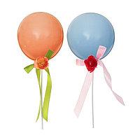 Шар-топпер латексный 5' 'Макарун', палочки, ленты с цветами, набор 2 шт.