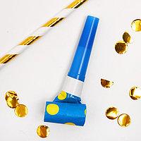 Карнавальный язычок 'Горох', набор 6 шт., цвет синий