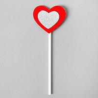 Топпер 'Сердце', набор 6 шт., серебряное в красном
