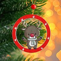 Подвеска новогодняя деревянная 'Фигурки в новогоднем шарике' 0,5x7,5x7,5 см, МИКС