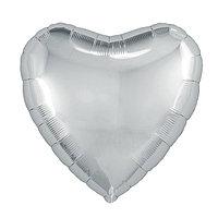 Шар фольгированный 18', сердце, цвет серебряный (комплект из 5 шт.)
