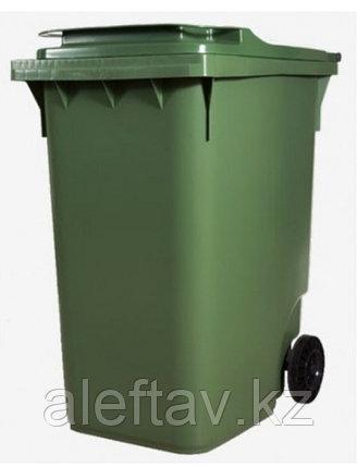 Передвижной мусорный контейнер с крышкой 360  литров диаметром колес 200 мм на двух колесах, фото 2