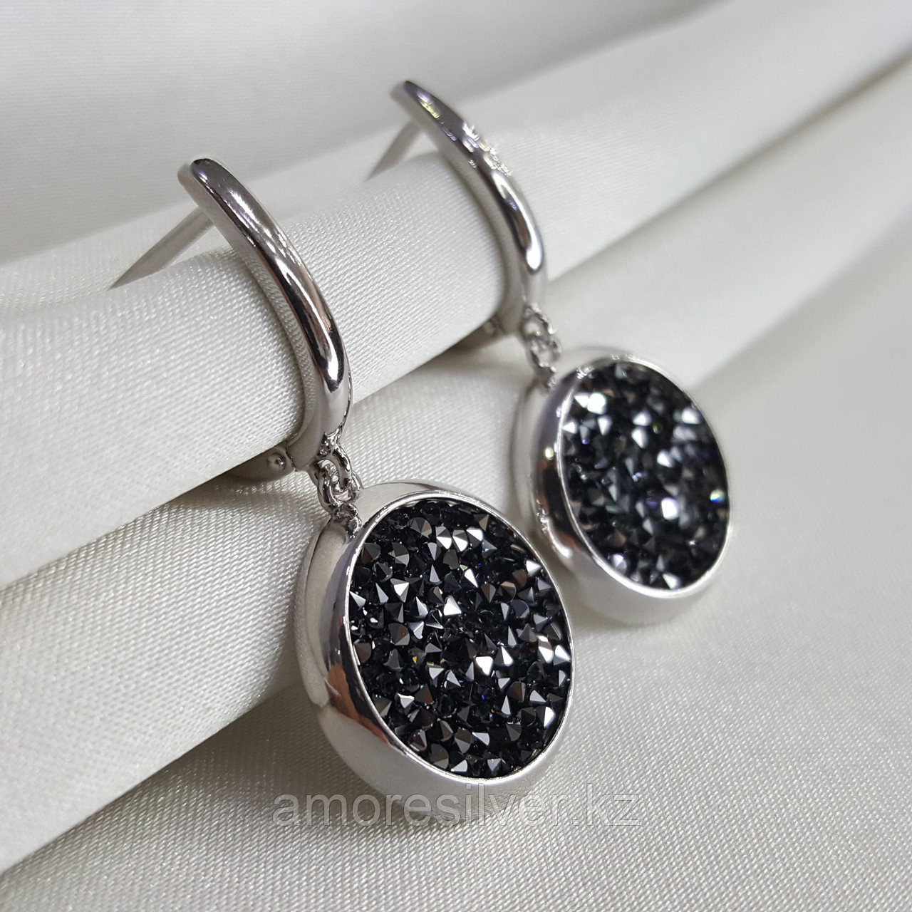 Серьги SOKOLOV серебро с родием, кристалл swarovski fine rocks , многокаменка 94022683 - фото 8