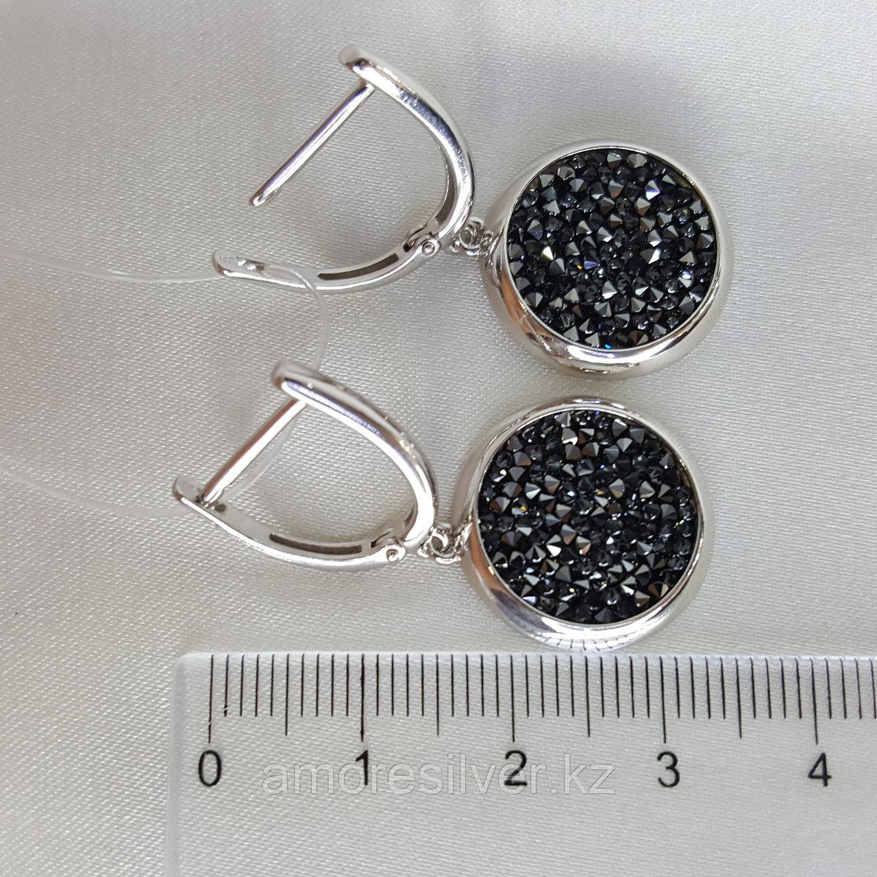 Серьги SOKOLOV серебро с родием, кристалл swarovski fine rocks , многокаменка 94022683 - фото 9