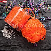 Мочалка банная бантик из синтетических материалов в коробке TITANIA art.9107 BOX Оранжевый