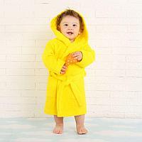 Халат махровый детский, размер 28, цвет жёлтый, 340 г/м2 хл.100% с AIRO