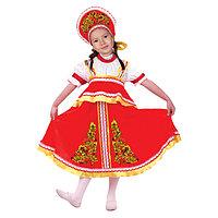 Карнавальный русский костюм 'Хохлома, цветы', платье-сарафан, кокошник, цвет красный, р-р 30, рост 110-116 см