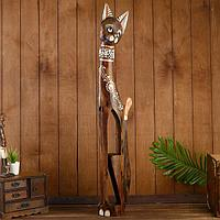 Сувенир дерево 'Кошка в ошейнике из камней и с расписным цветком' 100х16х7 см
