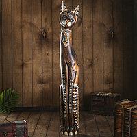 Сувенир дерево 'Кошка в галстуке из мозаики' 100х16х7 см