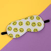 Маска для сна «SMILE», 19,8 × 8,5 см, резинка одинарная, цвет белый/жёлтый