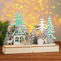 Новогодний декор с подсветкой 'Весело лепить снеговика' 2АА, 5х29,5х21 см