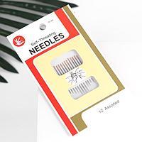 Иглы швейная, d 0,8 мм, для слабовидящих, с золотым ушком, 12 шт (комплект из 12 шт.)
