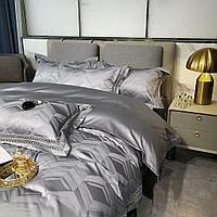 Комплект двуспального постельного белья из сатина с 3D геометрическим принтом