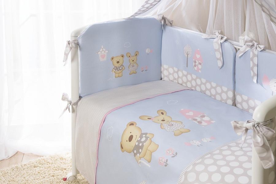 """Комплект в кровать PERINA Венеция """"""""Лапушки"""""""" голубой"""