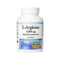 Аминокислоты Natural Factors - L-Arginine 1000 мг, 90 таблеток