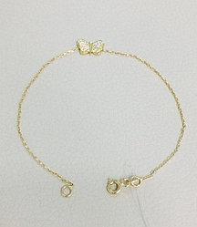 "Браслет "" Бабочка "" / жёлтое золото - 18 см"