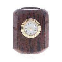 Карандашница с часами из коричневого обсидиана 7,5х7,5х9 см