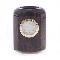 Карандашница с часами из коричневого обсидиана 7,2х7,2х9,5 см