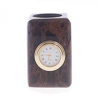 Карандашница с часами из обсидиана 6х6х9 см