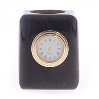 Карандашница с часами из черного обсидиана 6,5х6,5х8 см