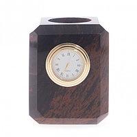 Карандашница с часами из обсидиана 7,5х7,5х9 см