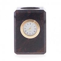 Карандашница с часами из обсидиана 6,5х6,5х9 см