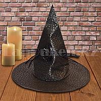 Шляпа ведьмы на Хэллоуин (Halloween) черная с пауком (высота 35 см)