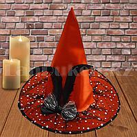 Шляпа ведьмы на Хэллоуин (Halloween) высота 35 см с вуалью черно-красная