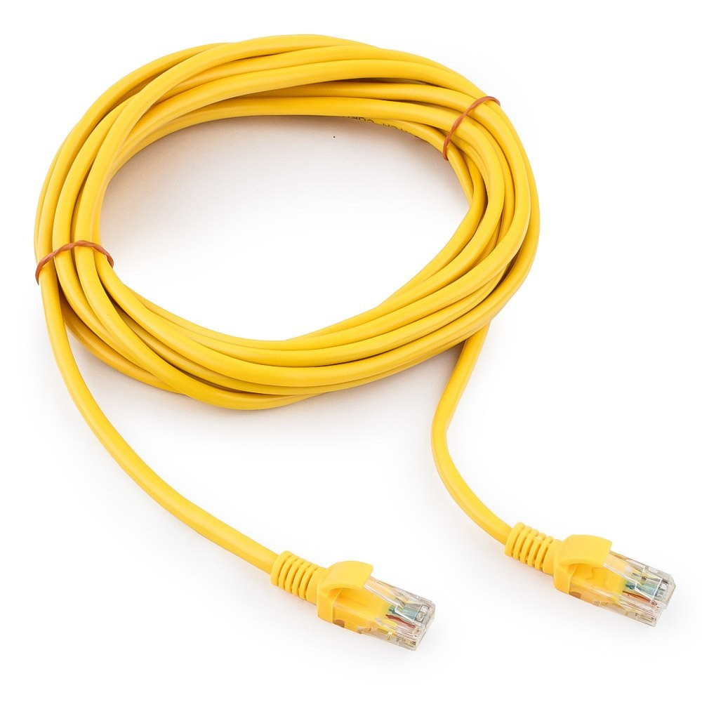 Патч-корд UTP Cablexpert PP12-5M/Y кат.5e, 5м, литой, многожильный (жёлтый)