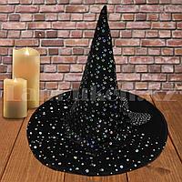 Шляпа ведьмы на Хэллоуин (Halloween) высота 35 см с вуалью черная