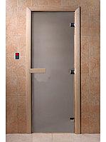Дверь стеклянная (стекло сатин 8 мм, 3 петли коробка ольха) 1900*700