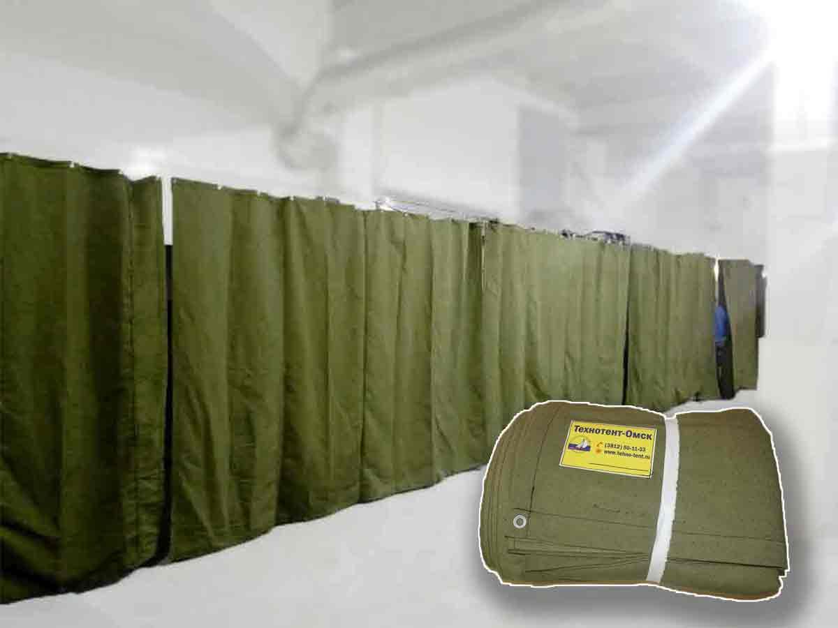 Штора/завеса из брезента СКПВ для утепления проемов ворот гаража 3,4х6,9