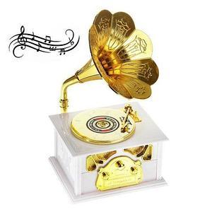 Шкатулка музыкальная механическая «Старенький граммофон» (Белый в золоте)