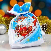 Мешок новогодний 'Дед мороз на санях', с затяжкой, габардин