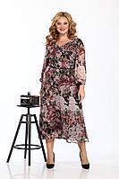 Женское осеннее шифоновое большого размера платье Karina deLux М-9913 цветочный_принт 56р.