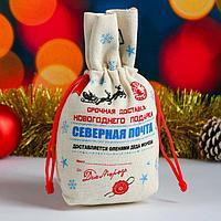 Мешок новогодний 'Северная почта. Снежинки', с застяжкой, двунитка, 17х24 см